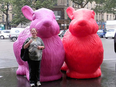 Patty and the giant plastic rabbits in the fashion disctrict